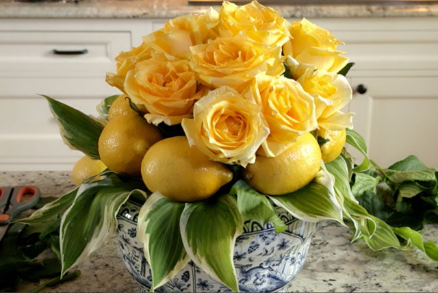 Yellow Roses and Lemons Flower Centerpiece
