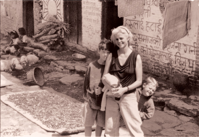 April Cornell with her sons in India.