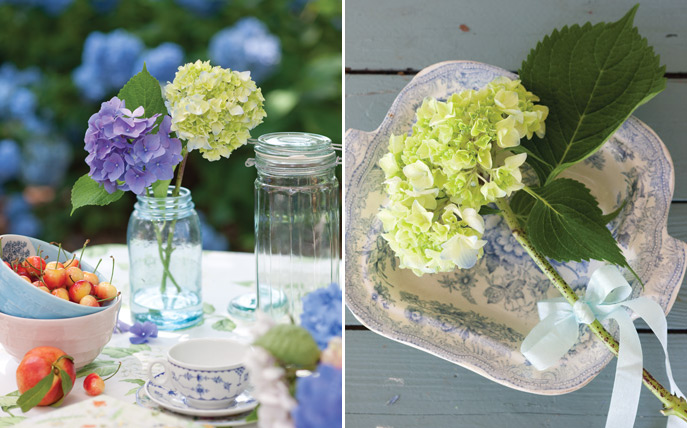 hydrangea arrangements from Victoria Magazine