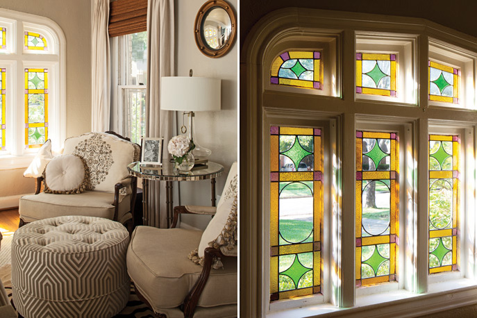 Photo of living room with stained glass windows from Southern Home