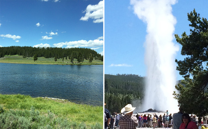 Picture of Old Faithful and the Gallatin River in Montana.