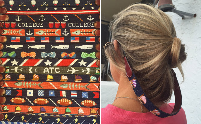 Some of Asher Riley's range of customizable accessories and creative needlepoint designs.