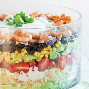 Southwest Layered Salad with Shrimp - Football Food