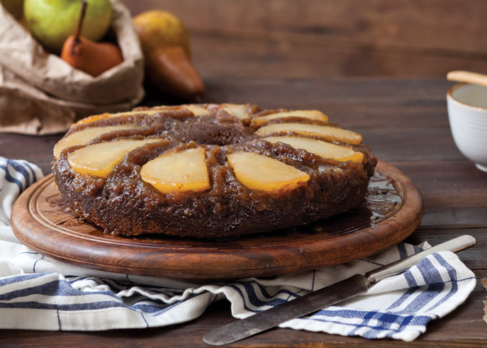 Upside Down Pear-Gingerbread Cake - Taste of the South