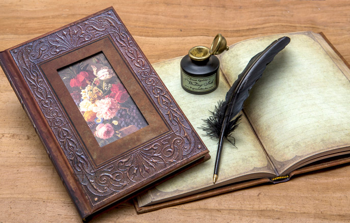 Picture of journal and pen giveaway from Figments Studio