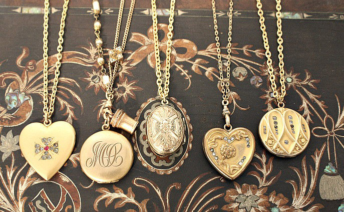 locket lockets heart necklace original small gold vintage
