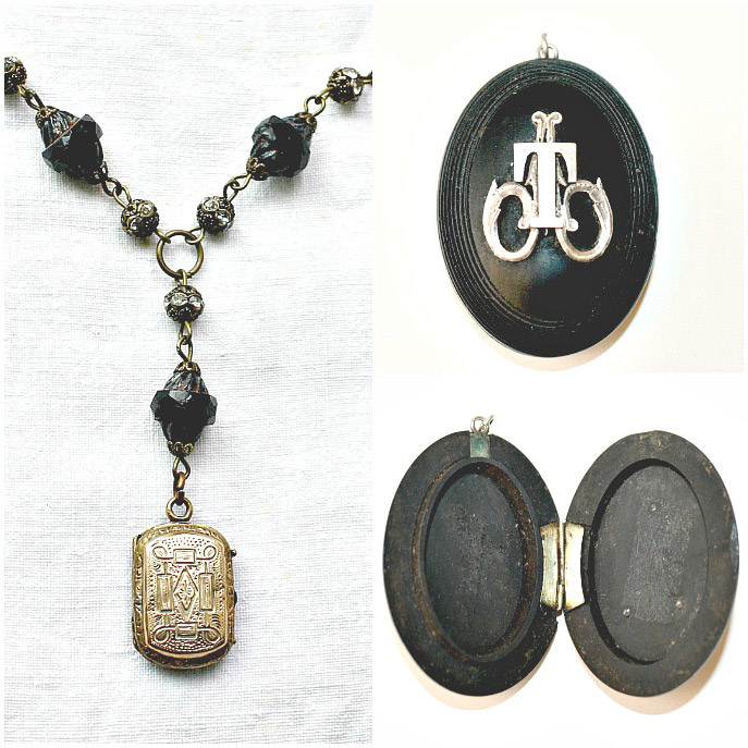 Antique Lockets - example of mourning locket from French Garden House
