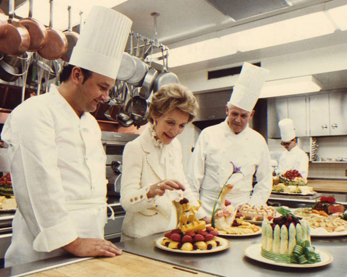 White house pastry chef Rolland Mesnier with First Lady Nancy Reagan