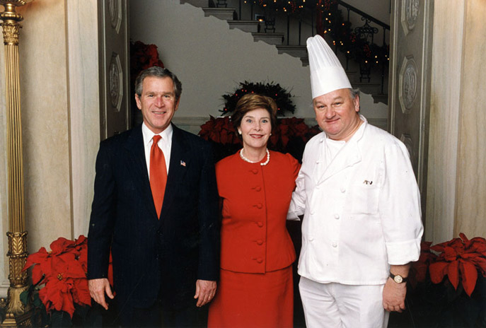 White House pastry chef Roland Mesnier with President George W. Bush and First Lady Laura Bush.