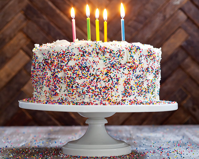 Birthday cake with rainbow sprinkles.