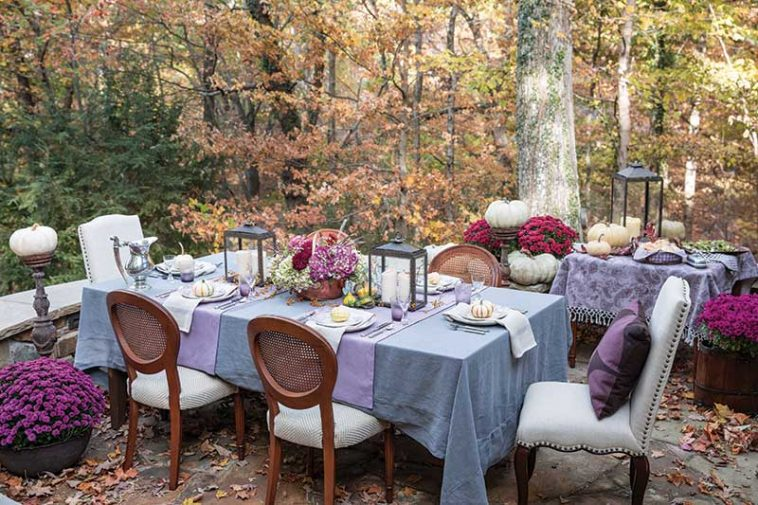 Deep purple Autumn tablescape