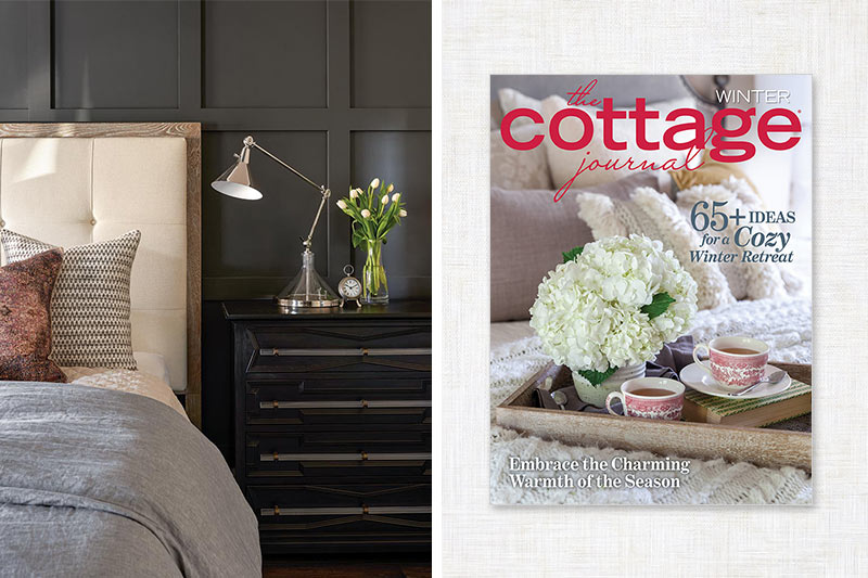 The Cottage Journal cover and bedroom