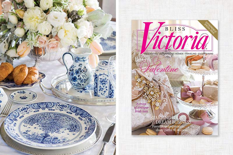 Victoria cover and blue and white china