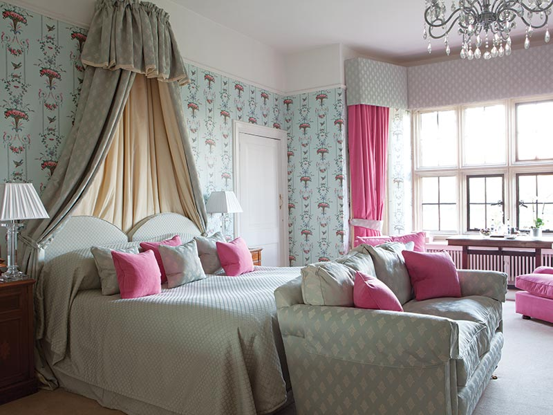 Pink and blue English bedroom