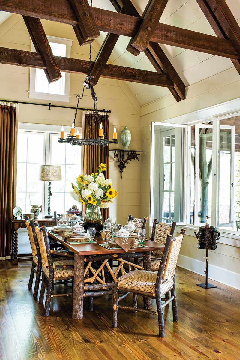 rustic dining room in Lonesome Valley, North Carolina cottage